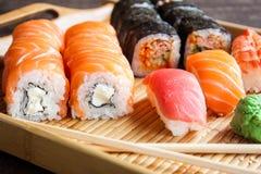 Sistema japonés del sushi Fotografía de archivo