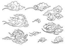 Sistema japonés o chino oriental de la colección del dibujo del garabato del ornamento de la nube Foto de archivo
