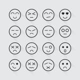 Sistema largo de la sombra de los iconos humanos de la emoción Fotos de archivo