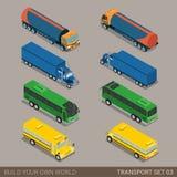Sistema largo isométrico plano del icono del transporte por carretera del vehículo 3d Fotografía de archivo