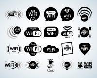 Sistema libre del logotipo del wifi Sistema libre de las muestras del wifi Símbolos de WiFi Iconos de la red inalámbrica Zona de  foto de archivo libre de regalías