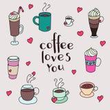 Sistema lindo colorido de las tazas de café Imagen de archivo