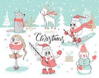 Sistema lindo con los animales y los muñecos de nieve a mano lindos Feliz Navidad y Feliz Año Nuevo Ilustración del vector ilustración del vector