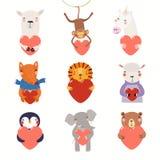 Sistema lindo de día de San Valentín de los animales ilustración del vector