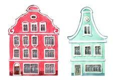 Sistema lindo de ejemplos de la acuarela, casa con las ventanas y obturadores Casas del pueblo holandés stock de ilustración