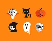 Sistema lindo de Halloween de iconos Fotografía de archivo
