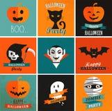 Sistema lindo de Halloween de iconos Fotos de archivo libres de regalías