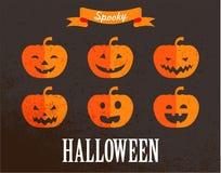 Sistema lindo de Halloween de iconos de la calabaza Fotografía de archivo libre de regalías