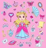Sistema lindo de la etiqueta engomada de la princesa Fotos de archivo
