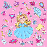 Sistema lindo de la etiqueta engomada de la princesa Imagen de archivo