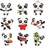 Sistema lindo de la historieta de la panda Fotografía de archivo