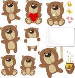 Sistema lindo de la historieta del oso del bebé ilustración del vector