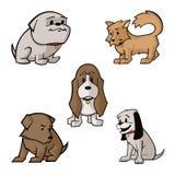 Sistema lindo de la historieta del vector del perrito Imágenes de archivo libres de regalías