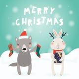 Sistema lindo de la Navidad de los animales stock de ilustración