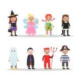 Sistema lindo de los disfraces de Halloween para los niños ilustración del vector