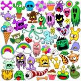 Sistema lindo de los iconos de los garabatos de los monstruos libre illustration