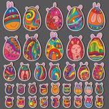 Sistema lindo de Pascua del huevo Imagen de archivo libre de regalías