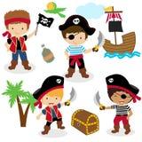 Sistema lindo de piratas de los niños stock de ilustración