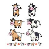 Sistema lindo del adorno del ejemplo del vector de la historieta de la colección de la vaca stock de ilustración