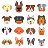 Sistema lindo del arte de las caras de los perros Foto de archivo libre de regalías