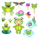 Sistema lindo del clipart de la rana de la historieta Ejemplo divertido de las ranas para el clip art del vector de los niños stock de ilustración