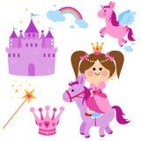 Sistema lindo del cuento de hadas de la princesa stock de ilustración