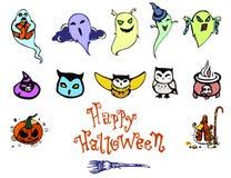 Sistema lindo del feliz Halloween Foto de archivo libre de regalías