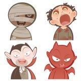 Sistema lindo del icono de los caracteres de Halloween de la historieta Fotografía de archivo libre de regalías