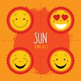 Sistema lindo del icono del sol del vector del bebé Los logotipos lindos del sol de la sonrisa del bebé recogen Imagen de archivo libre de regalías