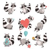 Sistema lindo del mapache, personaje de dibujos animados animal divertido en diverso ejemplo del vector de las situaciones stock de ilustración
