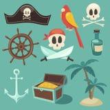 Sistema lindo del pirata, colección de los objetos, ejemplo, plano Foto de archivo libre de regalías