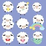 Sistema lindo del vector de las ovejas blancas Foto de archivo libre de regalías