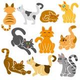Sistema lindo del vector de los gatos Foto de archivo libre de regalías