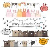 Sistema lindo dibujado mano del animal del garabato Incluya el oso, gato, Bunny And Dogs Imagen de archivo libre de regalías