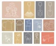 Sistema linear de iconos con los utensilios de jardinería Fotografía de archivo