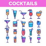 Sistema linear de los iconos de los c?cteles, del alcohol y de los refrescos ilustración del vector