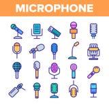 Sistema linear moderno y del vintage del micrófono del vector de los iconos stock de ilustración