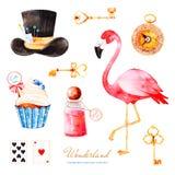 Sistema mágico de la acuarela con la magdalena y la botella con la etiqueta con el texto, llaves de oro, naipes, reloj libre illustration