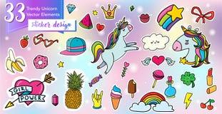 Sistema mágico de la etiqueta engomada del unicornio libre illustration