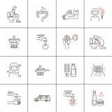 Sistema médico de la diarrea de los iconos stock de ilustración