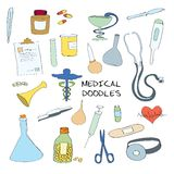 Sistema médico del garabato de los emblemas de los símbolos Fotografía de archivo
