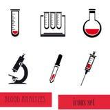 Sistema médico del icono del análisis de la sangre Fotografía de archivo libre de regalías