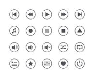 Sistema mínimo de medios iconos del botón de reproducción ilustración del vector