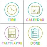 Sistema móvil de los iconos de Elements Round Linear del organizador ilustración del vector