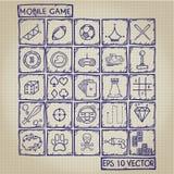 Sistema móvil del garabato del icono del juego Fotografía de archivo libre de regalías