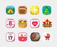 Sistema móvil del vector de los iconos del app aislado en fondo gris Imagen de archivo