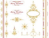 Sistema magnífico del ornamento de la Feliz Navidad Sistema del fondo del vector del día de fiesta Fotos de archivo
