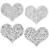 Sistema a mano blanco y negro del corazón de la tarjeta del día de San Valentín stock de ilustración