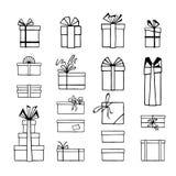 Sistema a mano de cajas de regalo blancos y negros estilizadas Ilustraci?n del vector ilustración del vector