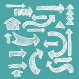 Sistema a mano de la flecha en la bandera áspera del grunge de la tiza para el web o el diseño infographic Vector Fotografía de archivo libre de regalías